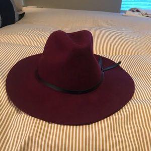 Burgundy faux suede hat